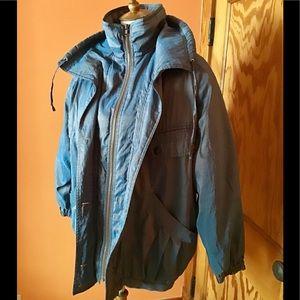 Vintage eighties blue retro ski puffer coat